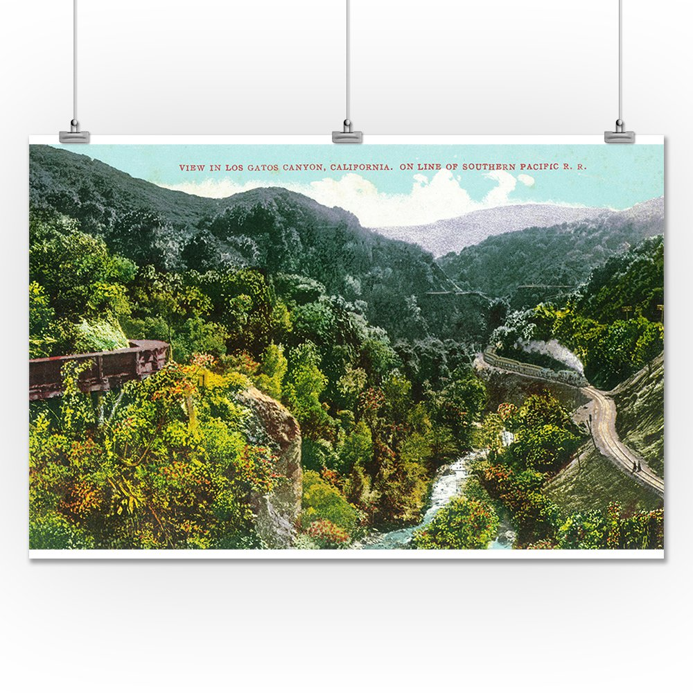 Amazon.com: Los Gatos Canyon, California - Canyon Aerial View, Southern Pacific Train (24x36 Fine Art Giclee Gallery Print, Home Wall Decor Artwork Poster): ...