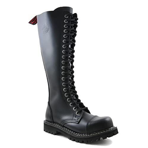 Angry Itch 20-hole gothic punk black leather army ranger boots with zipper  & steeltoe