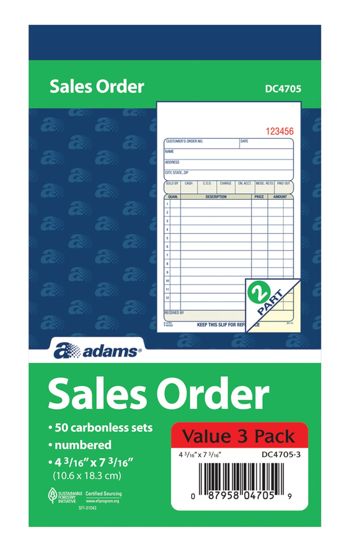 Adams Sales Order Books, 2-Part, Carbonless, White/Canary, 4-3/16'' x 7-3/16'', Bound Wraparound Cover, 50 Sets per Book, 3 Pack (DC4705-3)