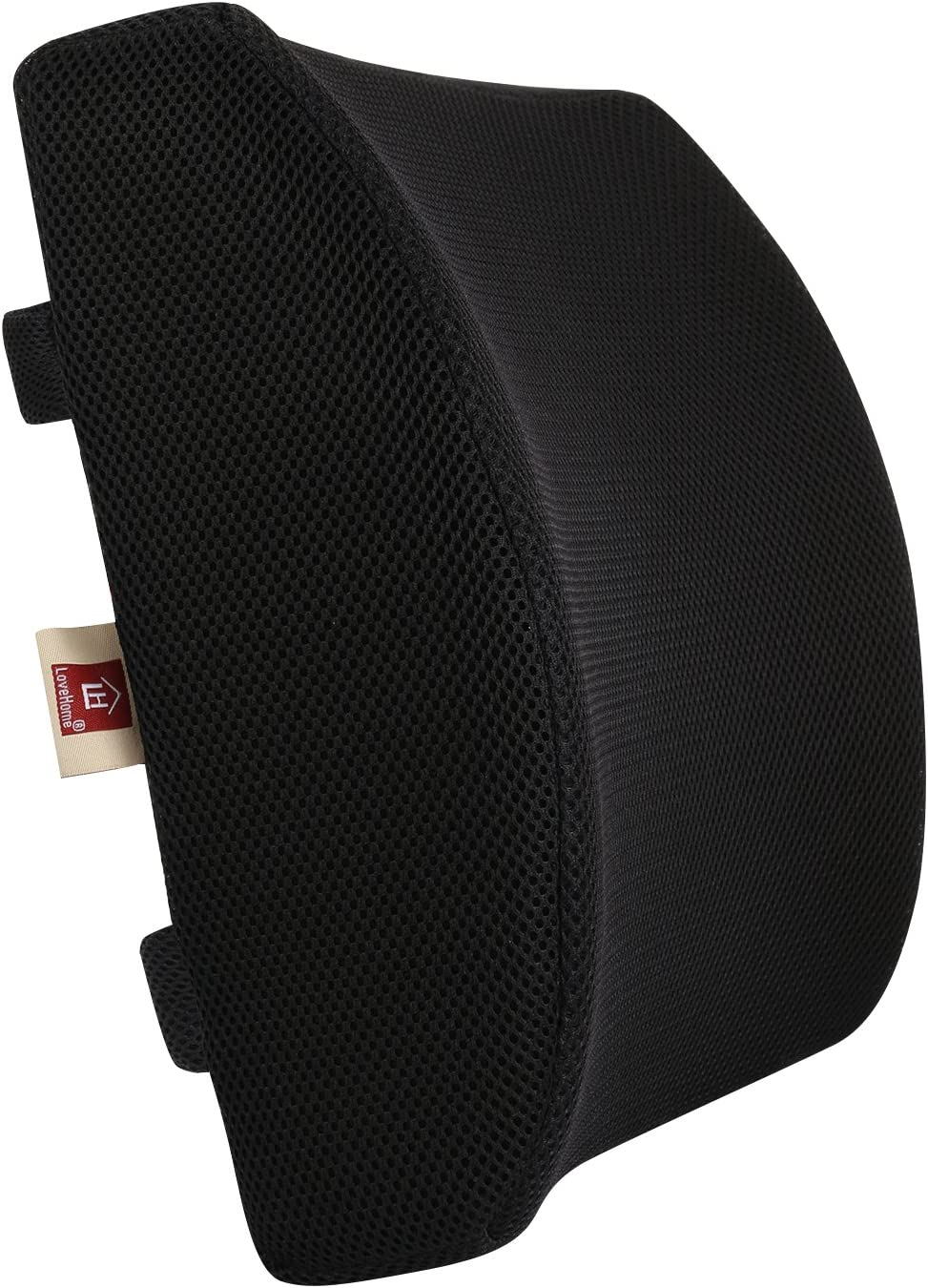 LoveHome Memory Foam Lumbar Support Back Cushion with 3D Mesh Cover Balanced Firmness Designed for Lower Back Pain Relief- Ideal Back Pillow for Computer/Office Chair, Car Seat, Recliner etc. - Black