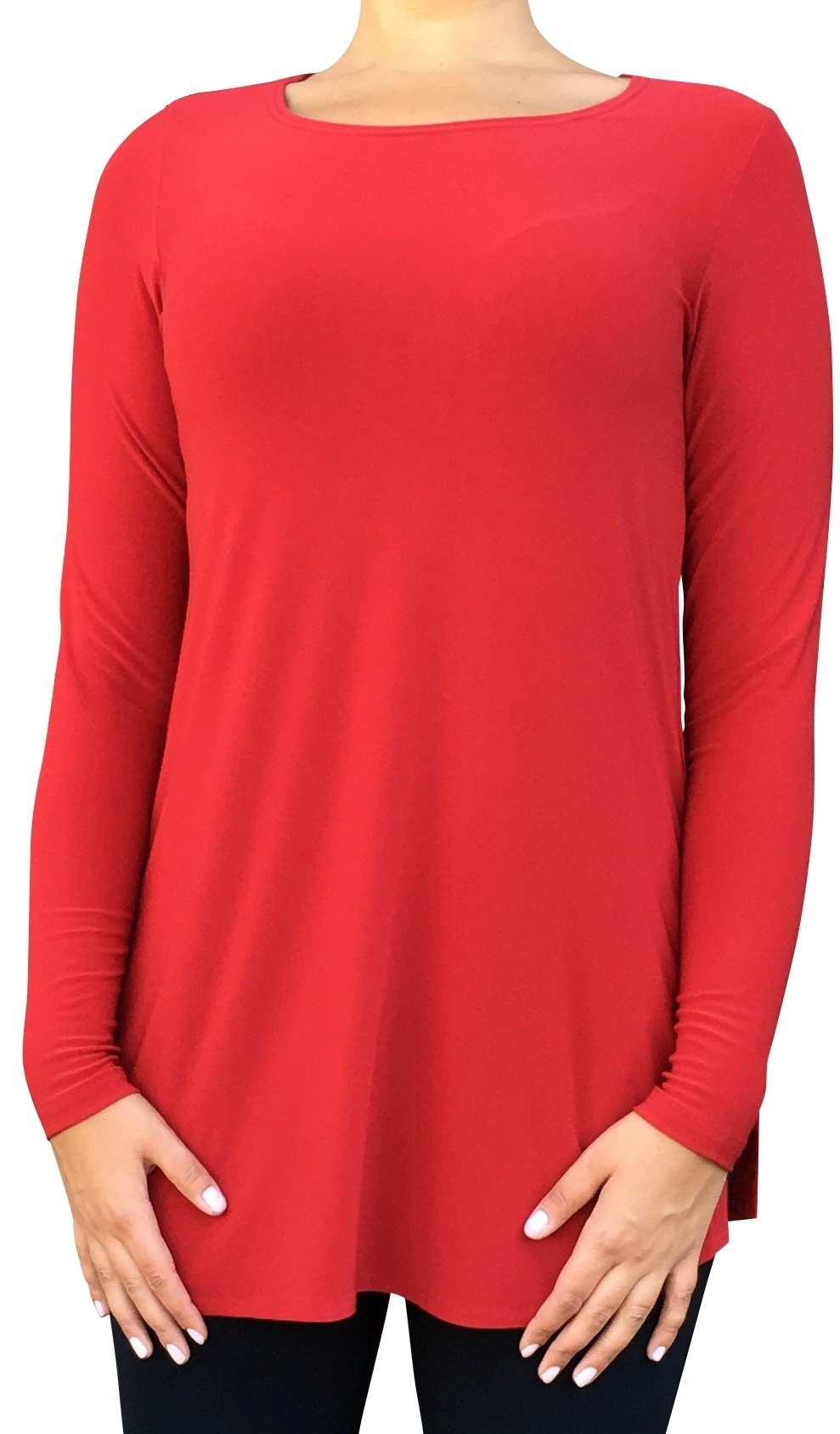 Sympli Womens Ideal Tunic Go To Classic Long Sleeves Size 14 Red