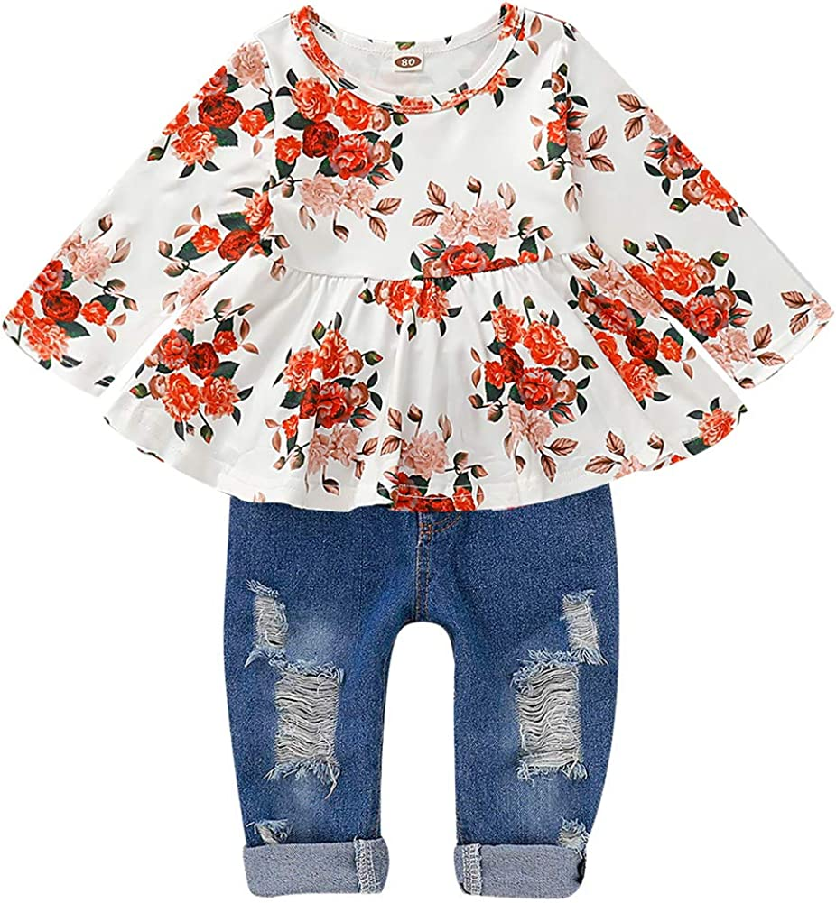 Cute Baby Girl Floral Long Sleeve Pant Set Flower Ruffle Top CARETOO Girls Clothes Outfits