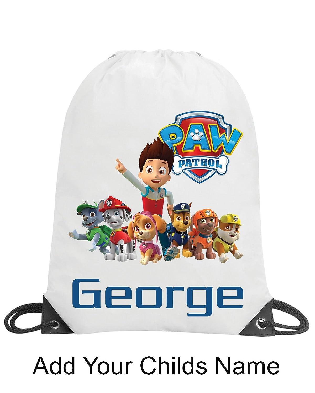 Paw Patrol Boys Personalised School Gym Swimming PE Nursery Drawstring Bag