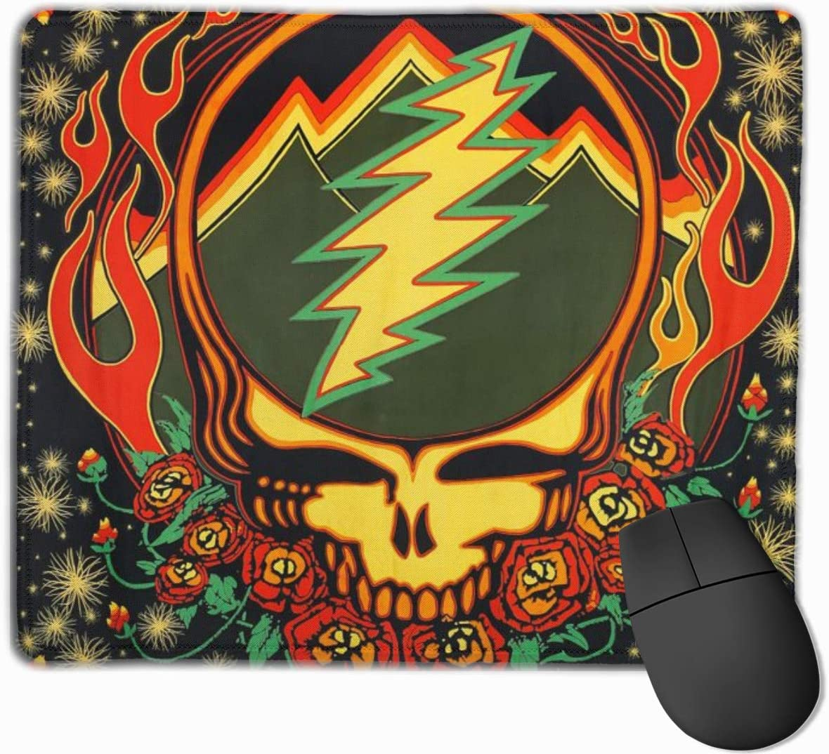 Grate Ful Skull Gaming Mouse Pad, Anti Slip Natural Rubber Mouse Mat for Desktops, Computer, Pc and Laptops Cool Mousepad for Working or Game - Grate-ful Dead 7.1x8.7 inches/11.8x9.85 inches