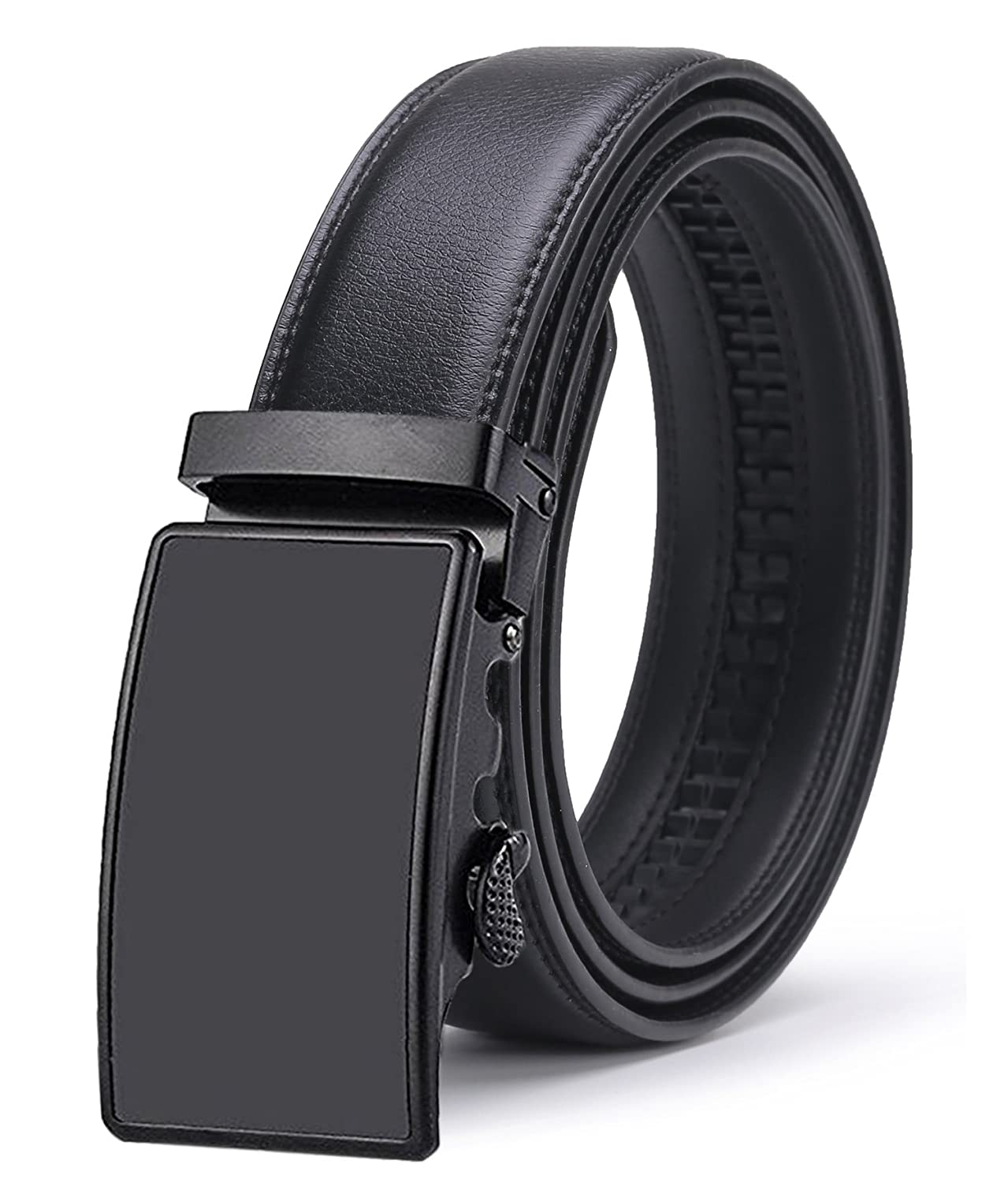 1a5a8186f3f5c ITIEZY Ratchet Automatic Buckle (Sliding Buckle) Leather Belt Strap For Men  at Amazon Men s Clothing store