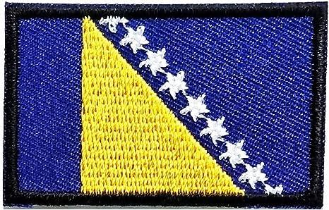 BOSNIA FLAG w//Gold Border//Iron On Patch Applique//Flag of Bosnia Symbol