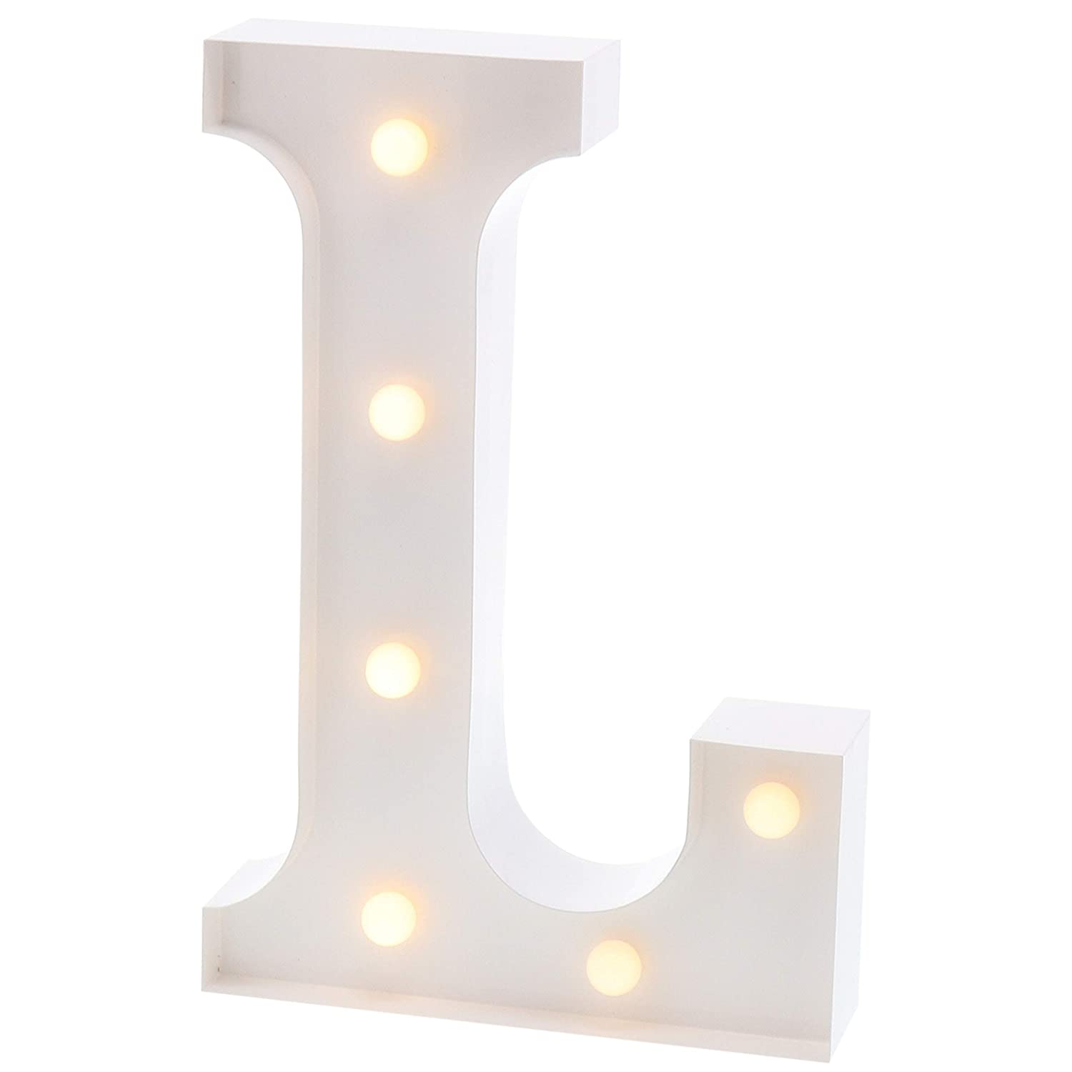 """Barnyard Designs Metal Marquee Letter L Light Up Wall Initial Wedding, Bar, Home and Nursery Letter Decoration 12"""" (White)"""
