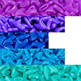 100 pcs Soft Cat Claw Caps for Cats Nail Claws 5X Colors + 5X Adhesive Glue + 5X Applicator, Pet Tips Cover Paws Soft Covers (S, Purple, Violet, Blue, Sky Blue, Turquoise)
