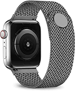 Ternzun Stainless Steel Strap for Apple Watch Band 44mm 40mm iwatch Band 38/42mm Belt Magnetic Milanese Loop Bracelet for Apple Watch Series 6 5 4 3 SE 38 or 40 mm (38 or 40 mm,Gun)