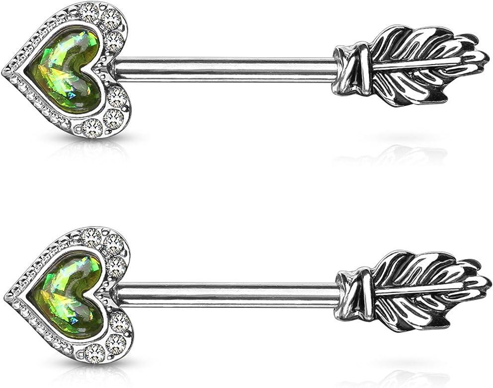Feather Nipple Ring and Straight Barbell-Steel Nipple Piercing-16 gauge-14 gauge Body Piercing Jewel