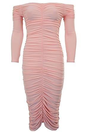 e02871128197f SAPPHIRE BOUTIQUE Womens Gathered Off Shoulder Bardot Plain Stretch Party Midi  Bodycon Dress: Amazon.co.uk: Clothing
