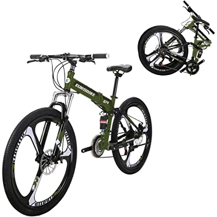 EUROBIKE G4 21 Speed Mountain Bike 26 Inches 3 Spoke Wheels Dual Suspension Folding Bicycle Armygreen