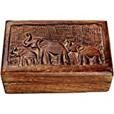 Black Friday Christmas Gifts Store Indya Country Style Wooden Jewelry Trinket Keepsake Storage Box Organizer Multipurpose with Hand Carved Elephant Design