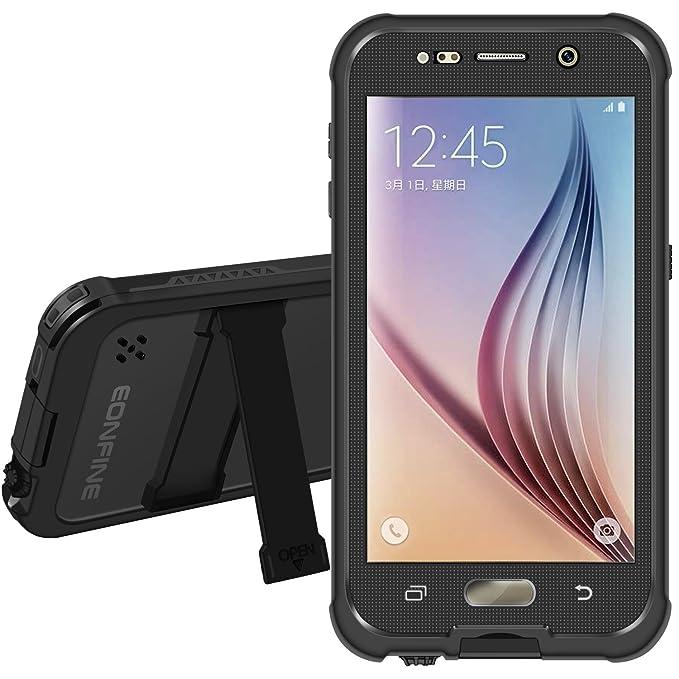 Galaxy S6 Caja estanca [Elegante Serie Adventure] 6.6ft Eonfine subacuática impermeable hermético al polvo a prueba de choques Snowproof completa sellada la cubierta del caso para Samsung Galaxy S6 IP68 certificada Negro: