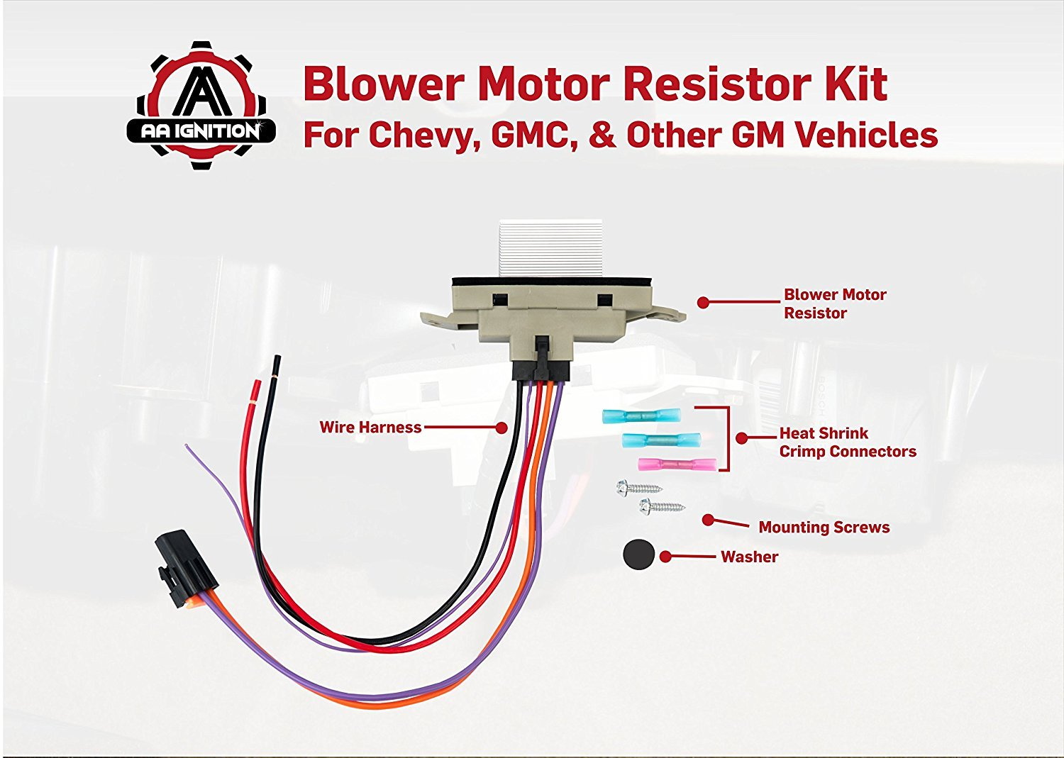 Blower Motor Resistor Complete Kit With Harness Gm Heater Wiring Diagram Replaces 15 81773 89018778 89019351 1581773 Fits Chevy Silverado Tahoe