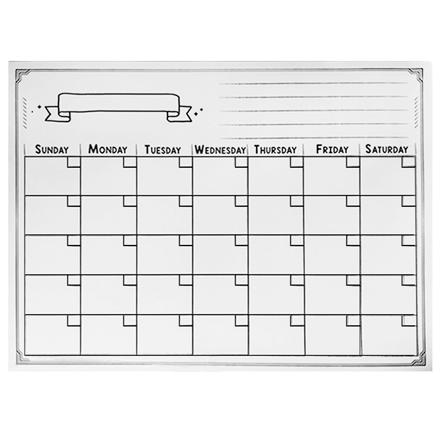 Magnetic Board for Fridge, Elisona Reusable Magnetic Dry Erase Calendar Weekly Monthly Planner Whiteboard Board for Refrigerator Home Kichen Office Fridge 40x30cm Black Elisona S