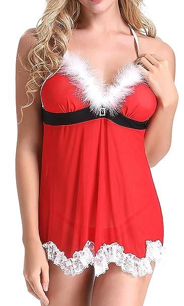426719feb9f843 Bevalsa Sexy Weihnachten Dessous Babydoll Kostüm Xmas Nikolaus Tüll ...