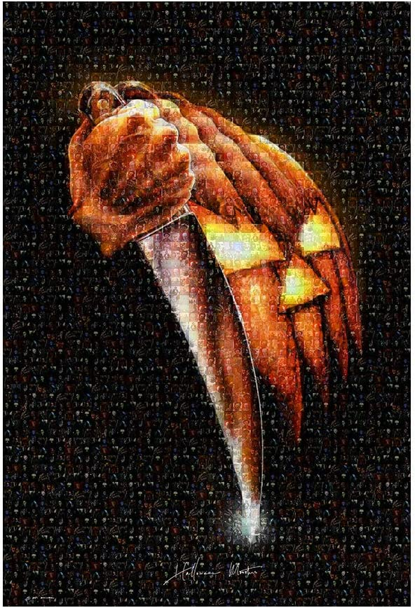 Amazon Com Halloween Monsters Mosaic Movie Poster Made With Pictures Of Jason Voorhies Michael Myers Freddy Kruger Leatherface Jigsaw Pinhead And More 27 X 40 Movie Poster Toys Games