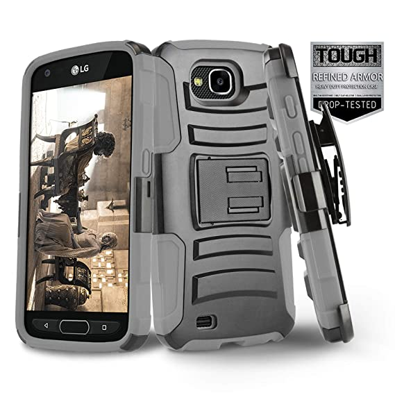 outlet store 443c4 1edd1 Phone Case for [LG X Venture (AT&T, US Cellular)], [Refined Series][Gray]  Shockproof Cover with [Kickstand] & [Holster Belt Clip] for LG X Venture ...