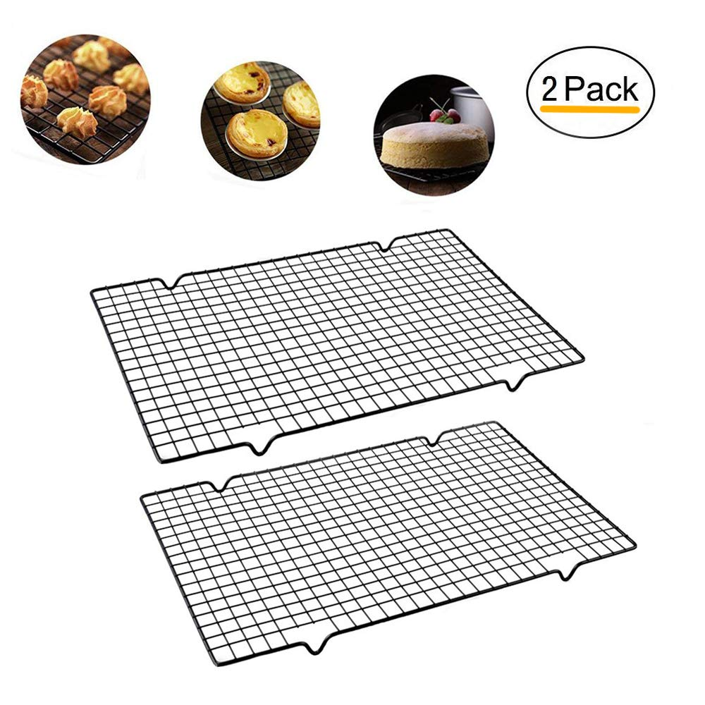 Enamel Cooling Rack Baking Rack Oven, Size 16''x10'',Thick Wire Heavy Duty Commercial Quality Wire Rack (2 PCS) (Quality Wire Rack) XHBEAR