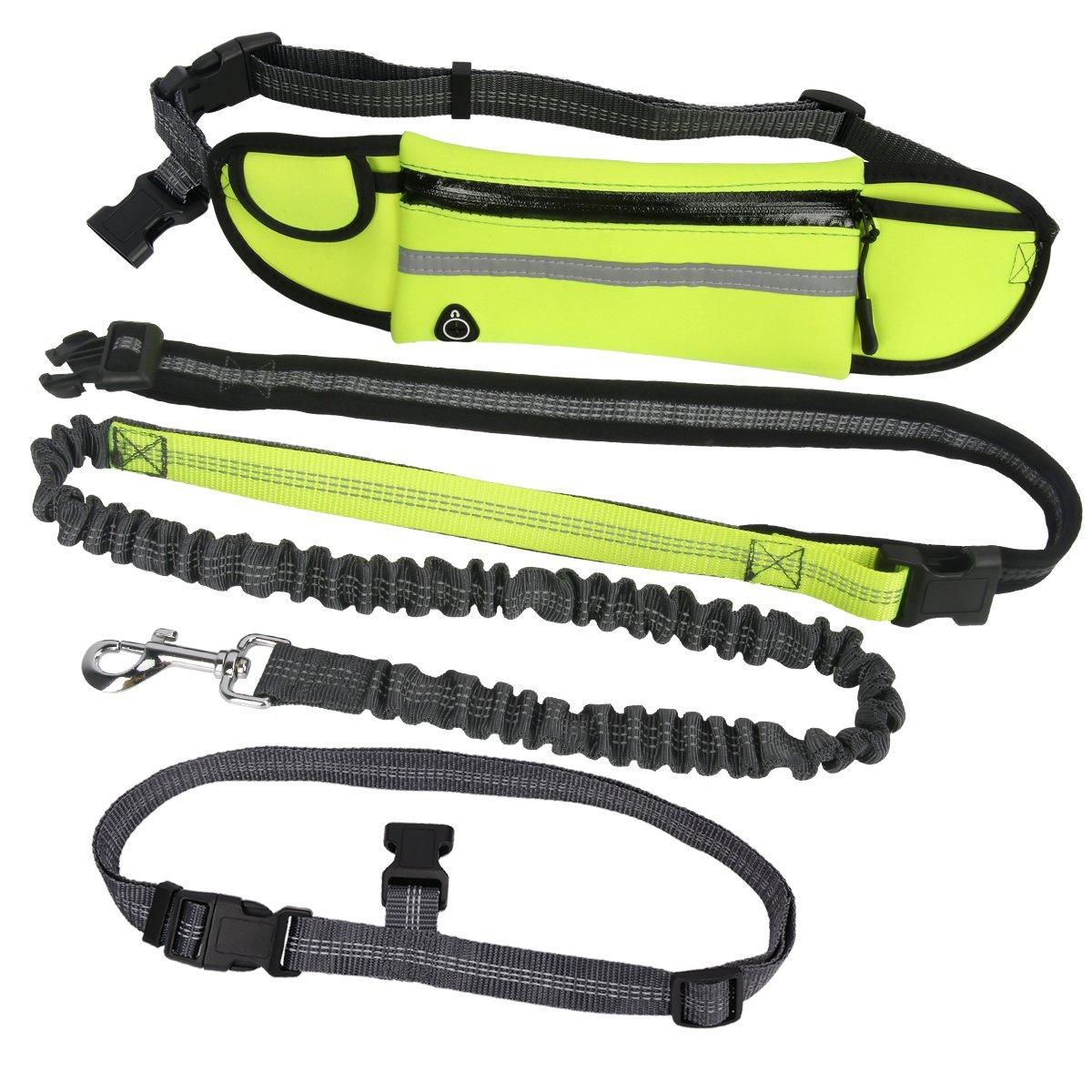Scheam Hands Free Dog Leash with Pouch Adjustable Waist Belt for Running Training Walking