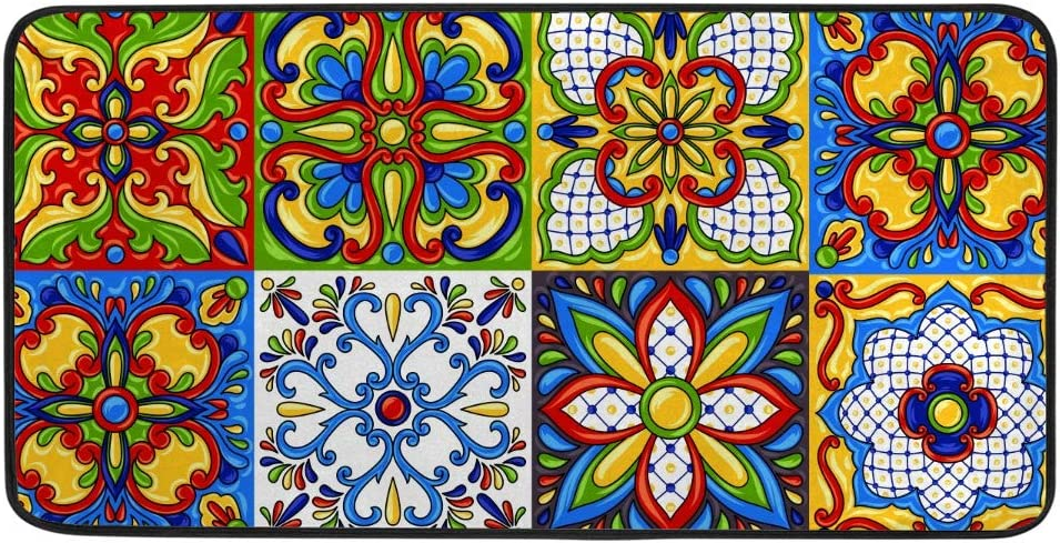 Kuizee Kitchen Rug Kitchen Mat Mexican Talavera Block Ethnic Folk Ornament Majolica Colorful Bathroom Rug Hallway Entry Rugs Non Slip Soft Water Absorbent 39×20 Inch
