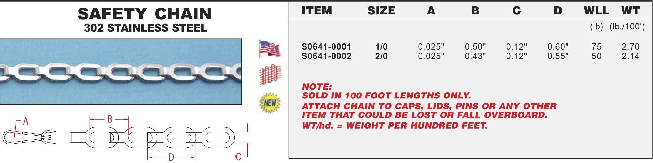 302 Stainless Steel Safety Chain 2/0 (S0641-0002)