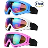 Ski Goggles, Snowboard Goggles for Kids, Boys & Girls, Men & Women, Youth, with UV 400 Protection, Wind Resistant, Anti-Glare Lenses & Multi Color Frames, made by COOLOO