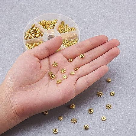 Chowcencen 300pcs 6 Stili della Collana del Braccialetto del mestiere distanziatore di DIY borda i monili Che Fanno Perline Metallo Oro Spacer