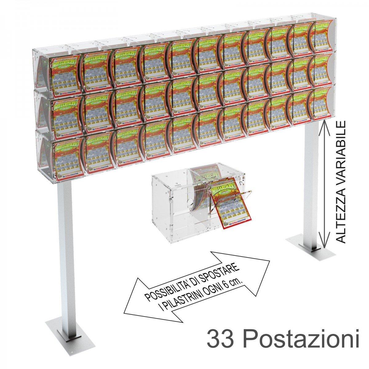Espositore gratta e vinci da banco in plexiglass trasparente a 33 contenitori munito di sportellino frontale lato rivenditore