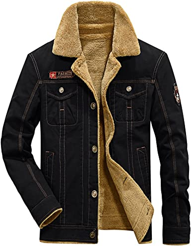 Fereshte - Chaqueta de invierno para hombre con forro polar grueso y cálido (tallas actualizadas)