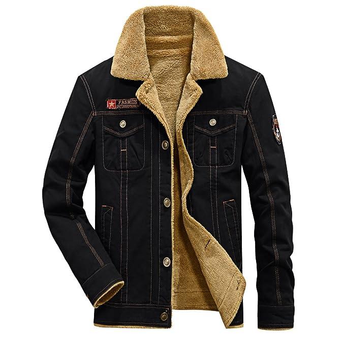 bd5ed5fbc63 fereshte Men s Winter Thick Warm Military Jacket Parka Fur Fleece Lined  Outdoor Coat Black Tag M