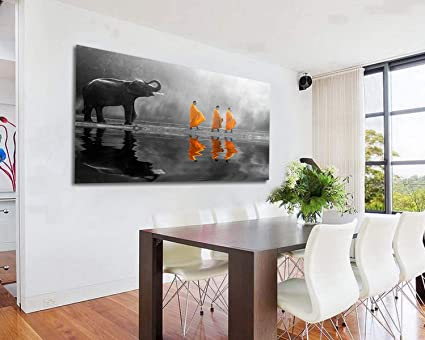 Orlco Art Hd Print Thailand Elephant Walk Behind Monks Buddha Zen Wall Art With Frame Picture Canvas Prints For Study Or Office Zen Wall Decor