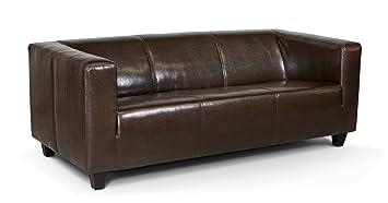 3 Sitzer Sofa Kuba 186 X 88 Cm Kunstleder Braun Amazon De Kuche