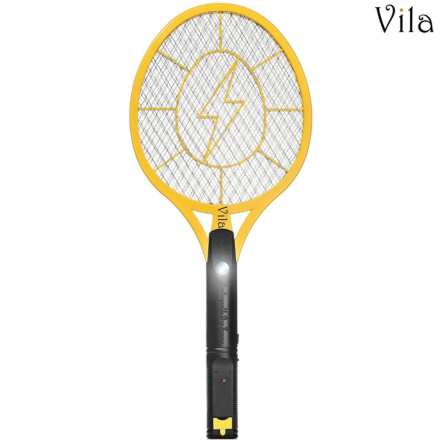 Electric Bug Zapper - Instant Fly & Mosquito Swatter - USB Rechargeable Racket - Super-Bright Inbuilt LED Light to Kill Insects in Dark - 3-Layer Safety wasp, Safe to Touch