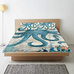 JOSENI Duvet Cover Set,Vintage Blue Octopus Old Map Seagrass Starfish Monster,Decorative 3 Piece Bedding Set with 2 Pillow Shams King Size