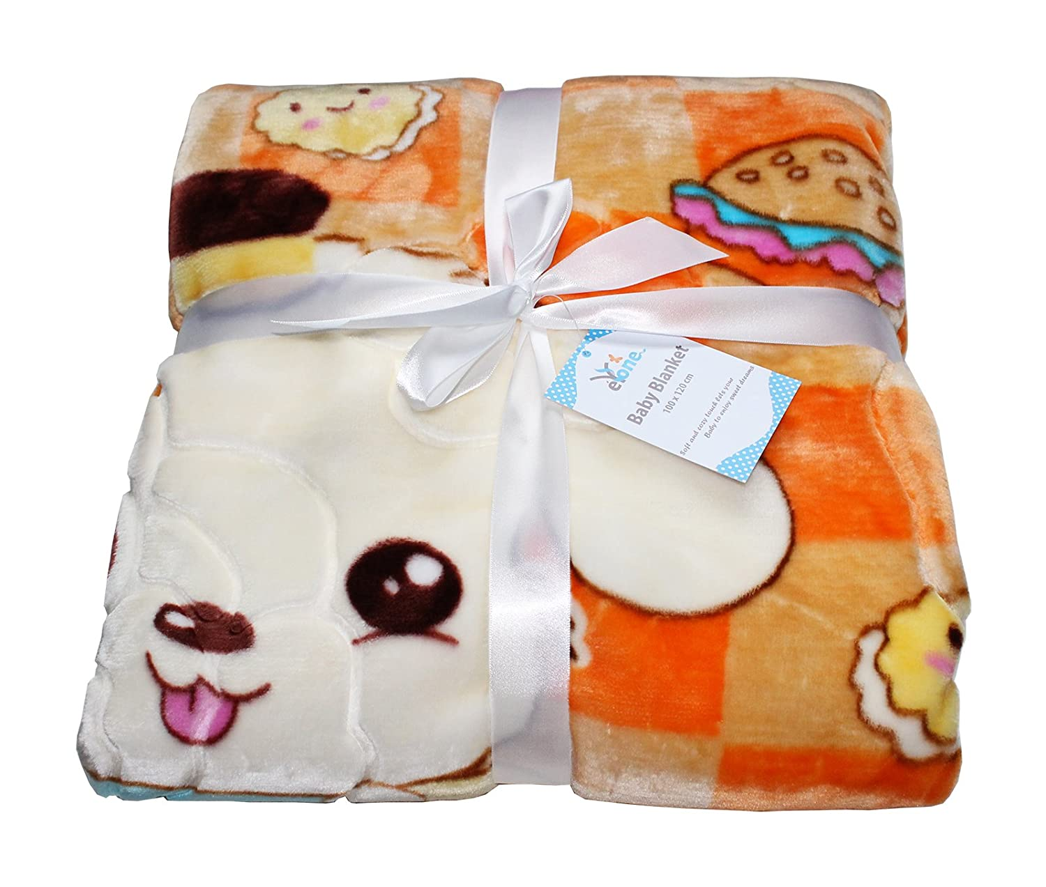 Luxury Boy & Girl Large Super Soft Fleece Baby Blanket With Animal Print (Orange, 100 x 110cm) eYone Manufacturing