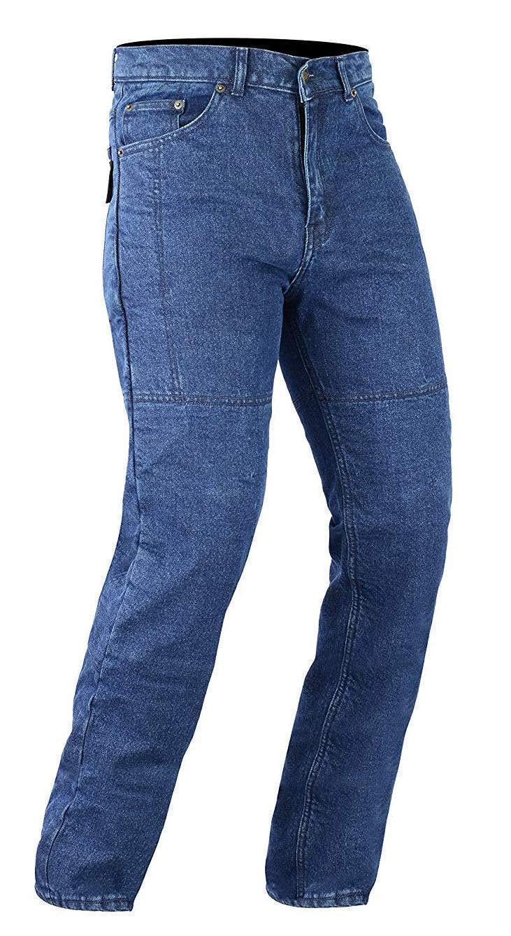 Bikers Gear Australia Classic Cut Kevlar Lined Protective Motorcycle Trouser Kevlar Jeans with Removable CE1621-1 Armour Blue Size 42R
