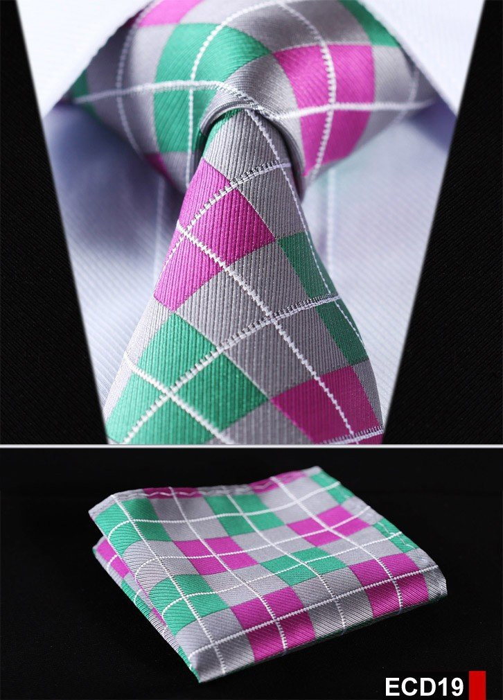 Men Tie Necktie Pocket Square Handkerchief Set Suit ECD19