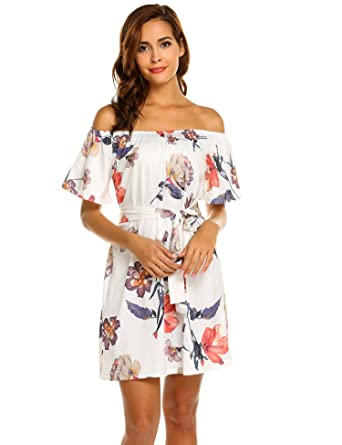 09079fa04ae00 OURS Women's Summer Off Shoulder Casual Floral Mini Dress with Belt (S,  White)