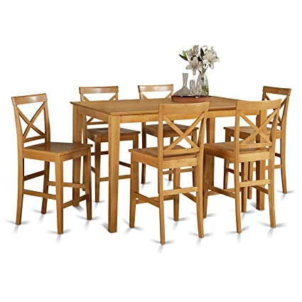 East West Furniture CAPU7H OAK W 7 Piece Pub Table Set, Oak