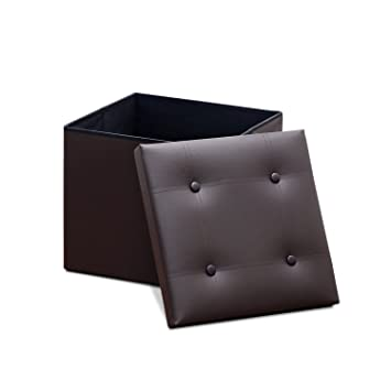 Marvelous Furinno Modern Foldable Faux Leather Square Storage Bench Creativecarmelina Interior Chair Design Creativecarmelinacom