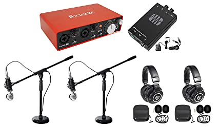 Rockville Podcasting Podcast Recording Bundle w/(2) Mics+Headphones+Stands