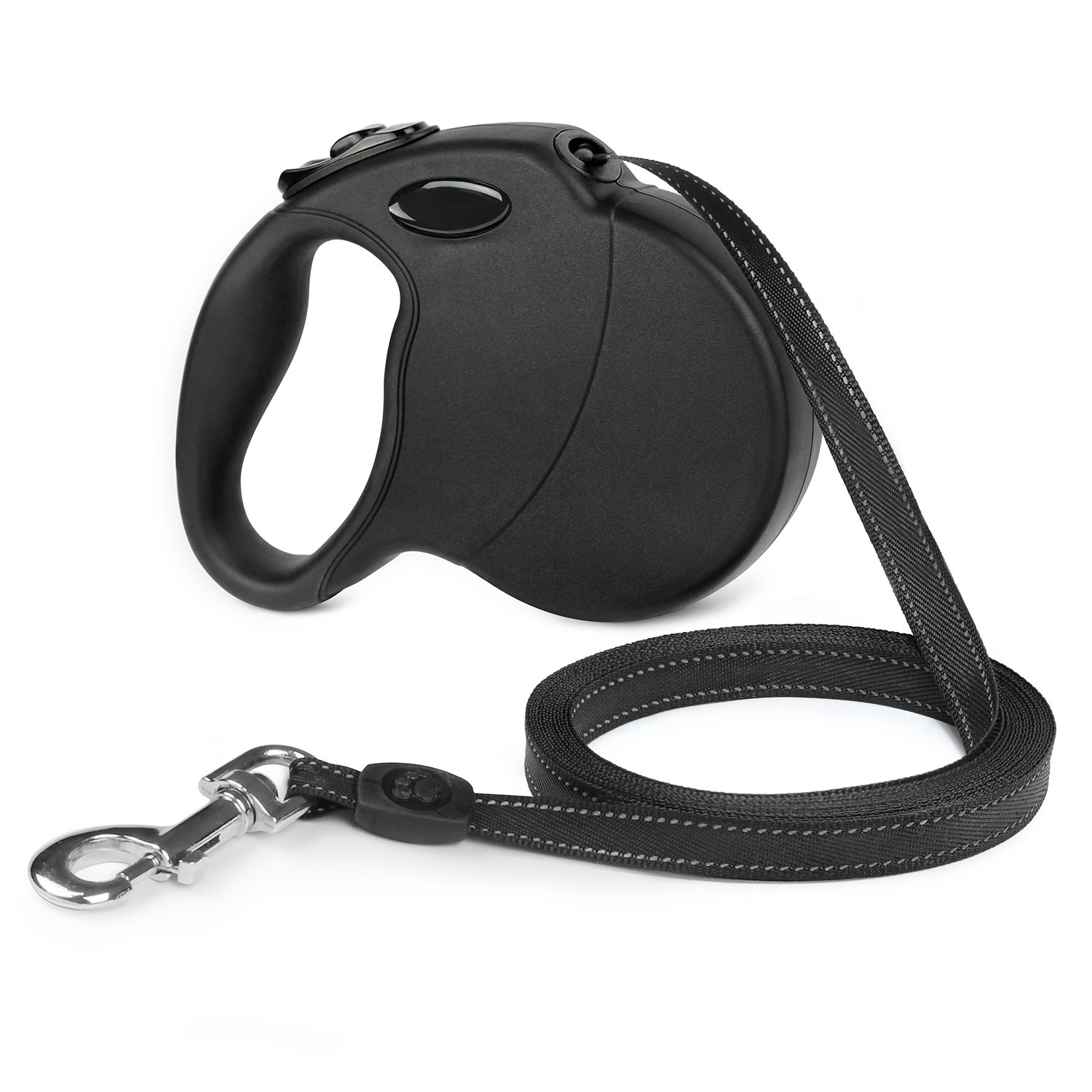 Pro Retractable Dog Leash, 16ft Dog Walking Leash for Large Medium Small Dogs up to 110 lbs, Tangle Free, Soft Hand Grip, Reflective Ribbon Cord, One Button Brake & Lock - Black