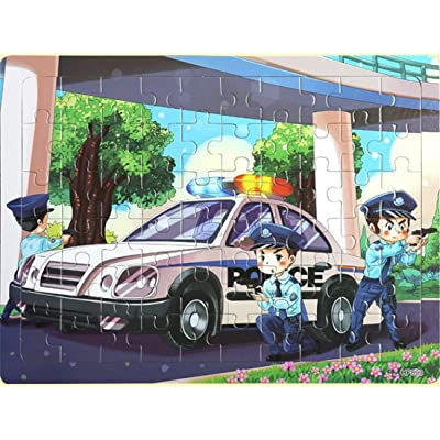 Layhome Puzzles 60 Pieces Durable Wooden Puzzle Children Fairy Story Animals Transportation Jigsaw (Police car) : Baby