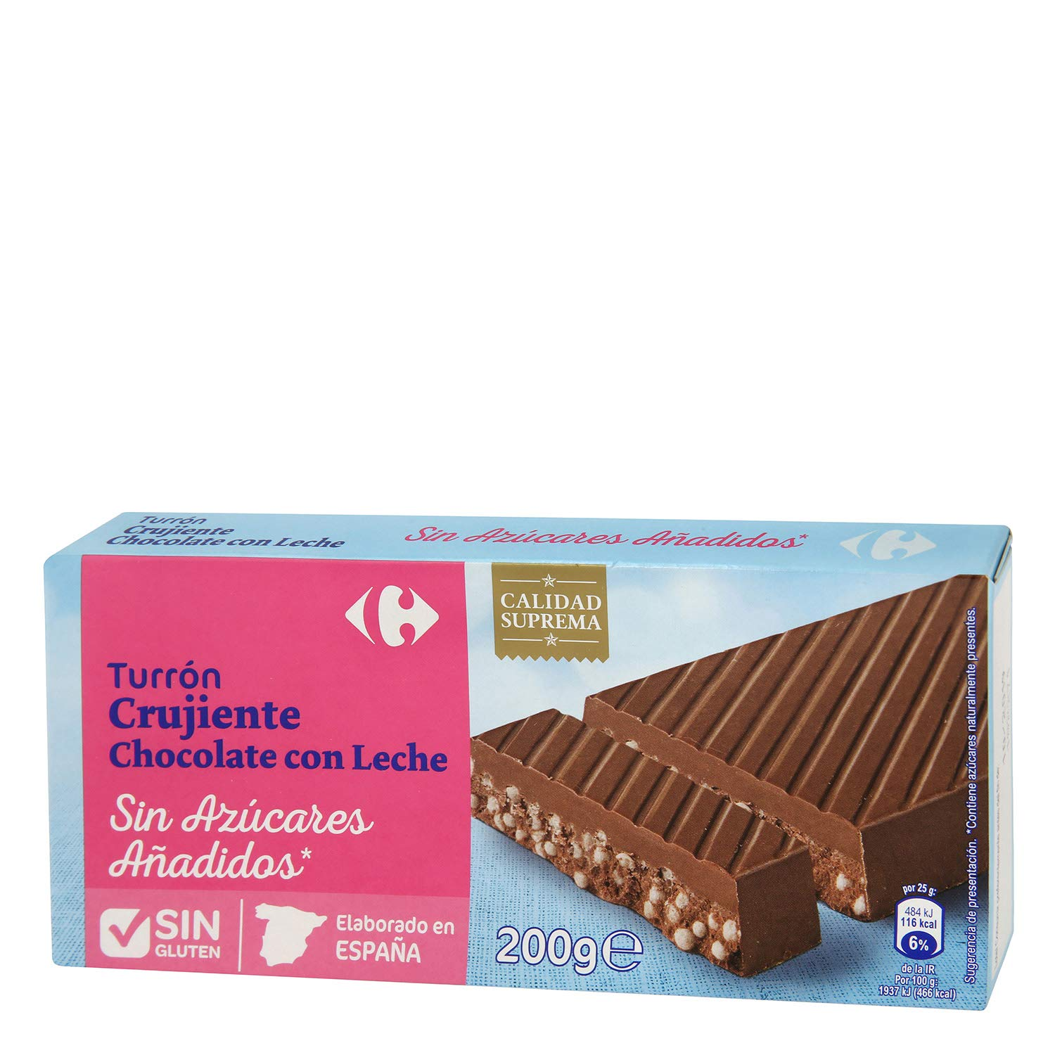 Amazon.com : 4 Pack Carrefour Crunchy Milk Chocolate Spanish Nougat 200g - Made In Spain - Sugar & Gluten Free - Supreme Quality - Nougat With Sweeteners ...