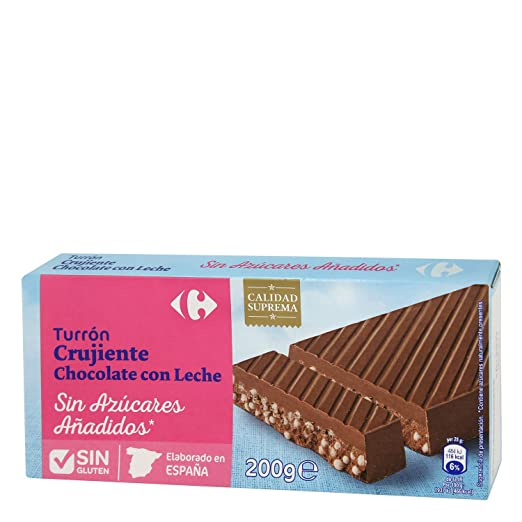 Amazon.com : 5 Pack Carrefour Crunchy Milk Chocolate Spanish Nougat 200g - Made In Spain - Sugar & Gluten Free - Supreme Quality - Nougat With Sweeteners ...