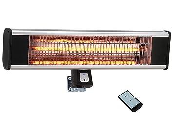 Traedgard® Estufa eléctrica infrarrojo por la terraza Helgoland, con Mando a Distancia, Potencia eléctrica de 1800 vatios, Ancho 65 cm, por la Pared, ...