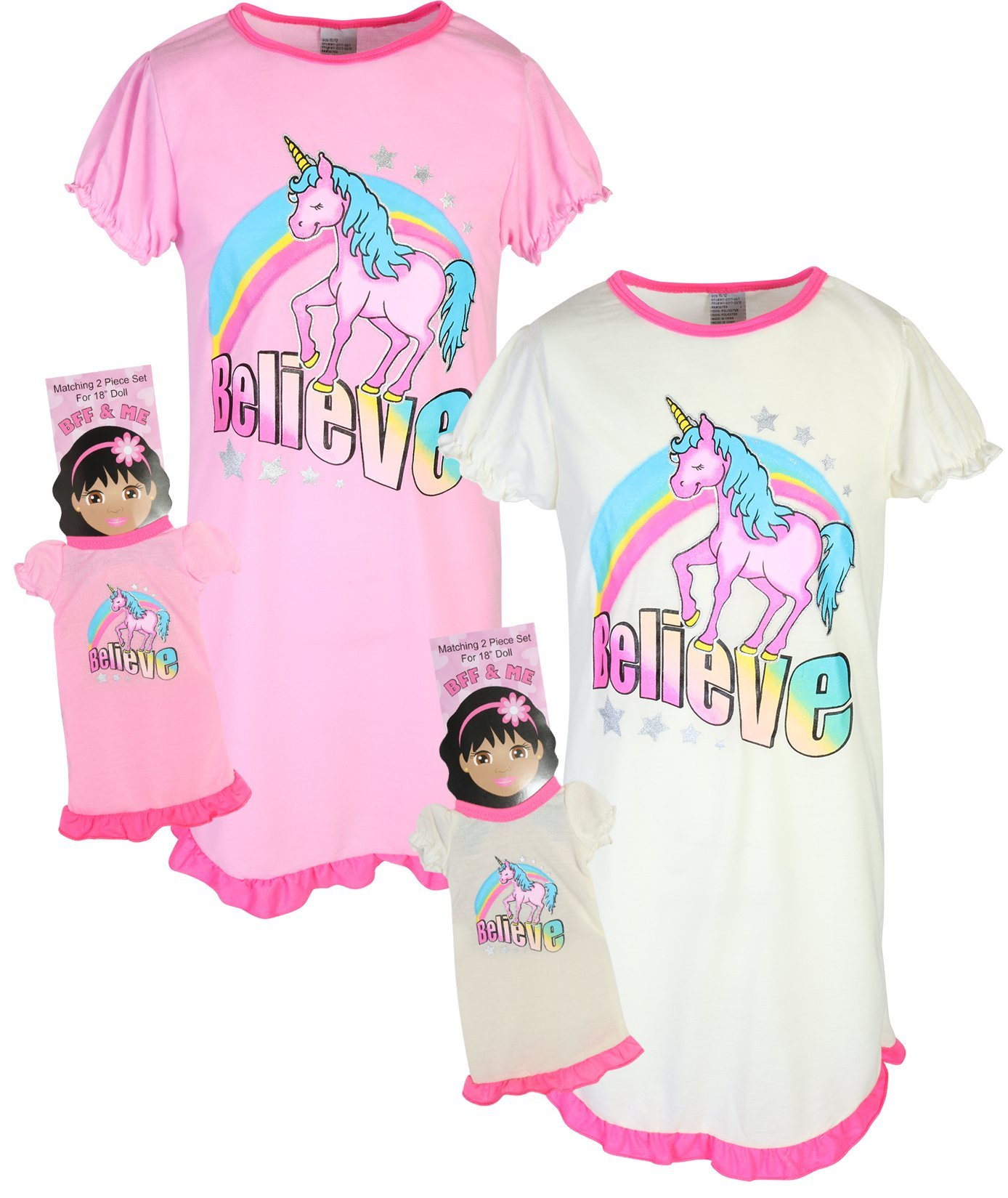 BFF & ME Girls Nightgown Pajama Set with Matching Doll Pajama (2 Pack), Unicorn, Size 10/12'