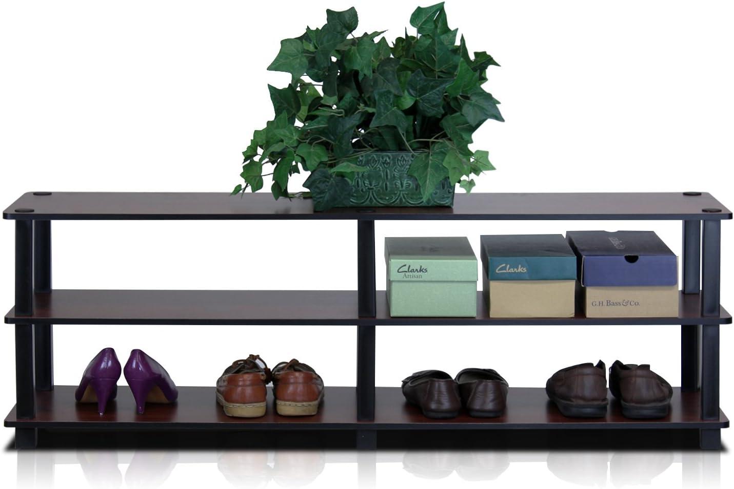 Cereza Oscuro//Negro Madera Furinno Turn-S-Tube Bastidores de Zapatos Talla /única